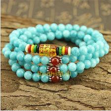 Blue Amazon Stone Jasper Yoga Meditation Energy With Mantra Bracelet