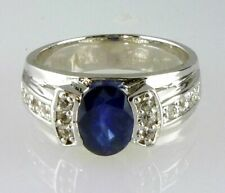 Natural Oval Sapphire + White Topaz Ring Good Quality 925 Sterling Silver Size 7