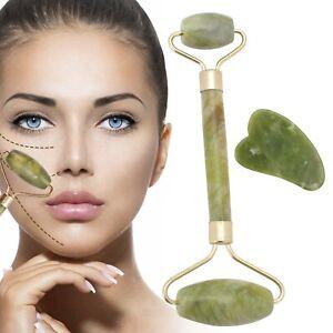 Jade Roller Jade Face Roller Massagegerät Gua Sha Set Gesichtsmassage Anti Aging