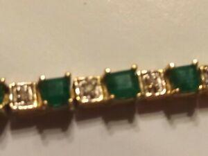 10k Yellow Gold Natural Emerald Diamond Bracelet