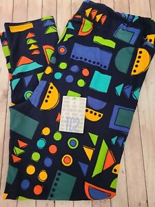 NEW LuLaRoe TC2 Leggings Solid Dark Blue Multi Color Geometric