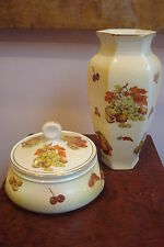 Royal Worcester England large vase and covered bowl, VANITY Palissy