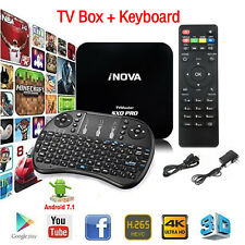 New Smart TV Box Android 7.1 4K Quad-Core HDMI HD Media Player w/ Keyboard Black
