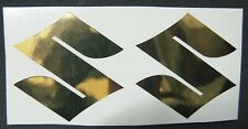 SUZUKI GSXR METALLIC CHROME/GOLD LOGO EMBLEM DECALS STICKERS BIKE MOTORCYCLE