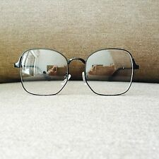Black Oversized Metal Frame Geek Nerd Retro Vintage Glasses 60s 80s