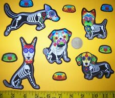New! Sugar Skull Dogs Iron-Ons Fabric Appliques