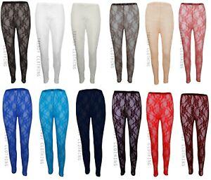 Womens Sheer Floral Lace Ladies Leggings  Sizes PLUS SIZES 8-26