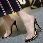 Women Ladies Clear Strappy Stiletto High Heel Open Peep Toe Sandals Cool Shoes