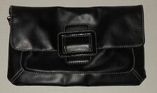 Black Faux Leather Pocketbook Purse Hand Bag New York & Co Removable Strap
