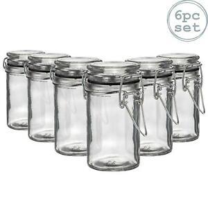 6x Glass Storage Jars with Airtight Clip Lid 70ml Set Black Seal