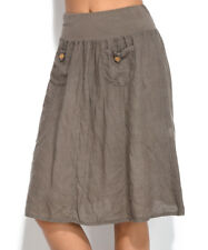 100% Linen Skirt Size 10 Ladies Brown Vintage Boho with Pockets BNWT #B-774