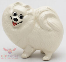 Porcelain Figurine of the white Pomeranian Spitz dog