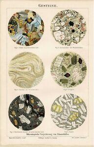 Farbtafel GESTEINE DÜNNSCHLIFFE GRANIT/ OBSIDIAN/ BASALT Orig.-Lithographie 1887