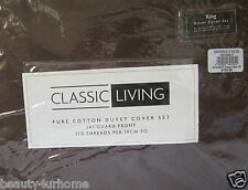 New Brown Classic Living Jacquard King Duvet Cover Set 370 Thread Count 100% Ct