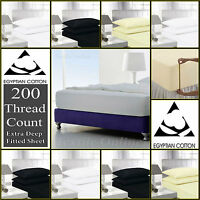 """Extra Deep 16""""/41cm Fitted Sheet Percale Quality T-200 Egyptian Cotton All Sizes"""