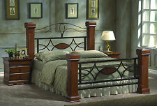 New Double Bed Frame Metal & Oak Mahogany Chunky Wooden Posts Pure Luxury