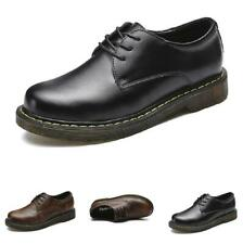 Mens Round Toe Work Business Polish Non-slip Lace up Casual Leisure Leather Shoe