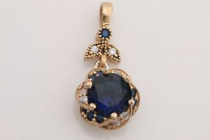 Turkish Handmade Jewelry Round Cut Sapphire Topaz 925 Sterling Silver Pendant