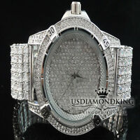 MEN'S NEW WHITE GOLD FINISH CUSTOM 7 ROW CLEAR LAB DIAMOND WRIST WATCH ICED OUT