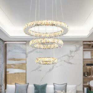 Modern Crystal 3 Ring Chandelier Luxury Led Pendant Light Living Room Fixtures