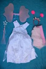 FAIRY OUTFIT - White Dress /Pink Wings /Tiara/ Wand. Pretty Design Girls Size 7+