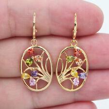 18K Yellow Gold Filled Women Multi-Color Topaz Flower Oval Dangle Earrings
