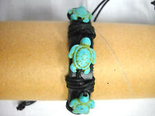 NEW THICK BLACK REAL LEATHER with 3 TURQUOISE BLUE HONU SEA TURTLES ADJ BRACELET