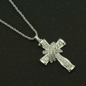 Rhinestone Women Chain Necklace Cross Pendant Crucifix Jesus Christian Men Punk