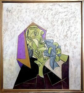 Picasso, Magnificent and beautiful work, oil on canvas, bust of a crying woman.