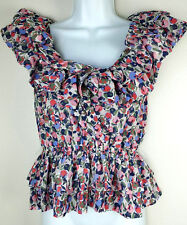 H&M Women Size 6 Sheer Crossover Ruffle Floral Print Peplum Blouse Top Blue Pink