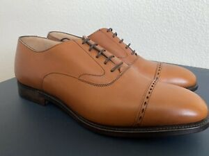Brooks Brothers Peal & Co Perforated Captoes Oxford Cognac Burnish Calf 9D