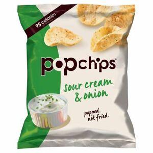 POPCHIPS | Not Fried Sour Cream & Onion Popped Potato Healthy Crisps 23g (24 Pk)