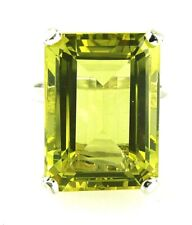 Large Genuine Lemon Citrine Emerald Cut Solitaire Ring 925 Sterling Silver 18x13