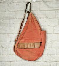 LL Bean Ameribag Backpack Orange Canvas Leather Sling Traveler