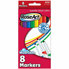 Rose Art 8 Count Supertip Classic Colors Markers NEW Supplies Crafts