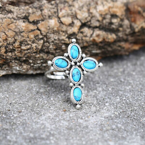 Women 925 Silver Cross Turquoise Ring Band Party Jewelry Gift Adjustable