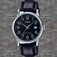 Casio MTP-V002L-1B Mens Analog Watch Leather Band Silver Black Date Display New
