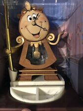 *NEW Disney Parks Beauty and the Beast Cogworth Figurine Clock With Pen Set