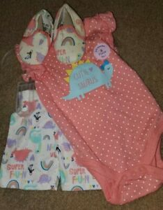 Baby Girl Outfit NWT Size 3/6 Months 3 Piece Dinosaur W/ Shoes CUTE