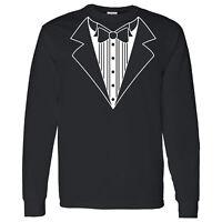 Tuxedo on a Long Sleeve Black T Shirt