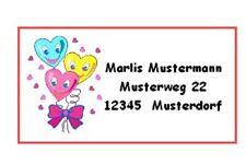 "WE2143#  40 Adressaufkleber "" Herzen "",Etiketten, Adresse,Schule,Aufkleber,"