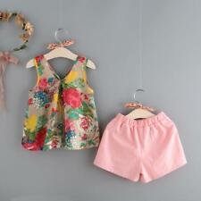 Little Girl Floral Clothing Set - Tank Tops & Shorts