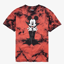 Official Disney Mickey Mouse Vampire Mens Large Red Tie Dye T-Shirt Horror Goth