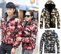 Camo Mens women Lightweight cotton Down Coat Padded winter Puffer hooded Jacket