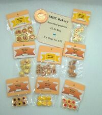 More details for dolls house food 5 miniature bags of traditional pastries 1/12 scale  handmade