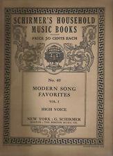 1908 Schirmer's Household Music Book, No. 40 Modern Songs High Voice, 25 Titles*