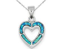 Laboratorio creado Ópalo Azul Collar Colgante de Corazón en Plata Esterlina Con Cadena