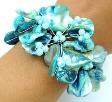 """Handmade 1.6"""" Blue Flower Mother of Pearl Beads bracelet size 8"""" : BA353-B"""