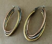 Vintage Milor Italy 925 Sterling Silver Three-Color Oval Earrings