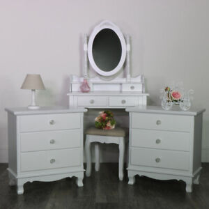 White Wooden Bedroom Set Dressing Table Mirror Stool Drawers Shabby French Chic